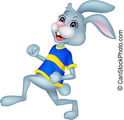 rennende , spotprent, konijn