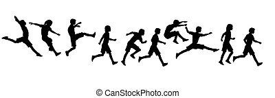 rennende , springt, kinderen