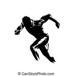 rennende , sprint, sillhouette., vector, vrijstaand, uitvoeren, abstract, logo., man