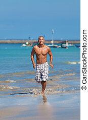 rennende , strand, jonge man