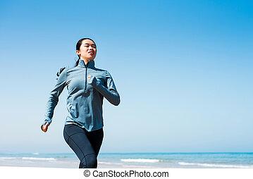 rennende , strand, meisje, morgen