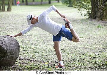 rennende , stretching, man, voor
