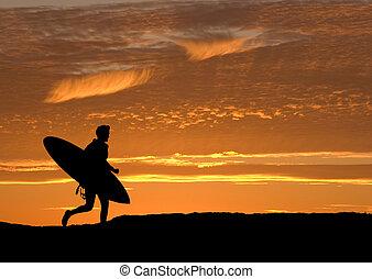 rennende , surfer, zee, uit