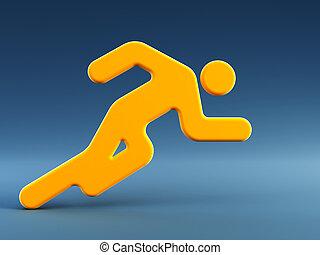 rennende , symbool, man