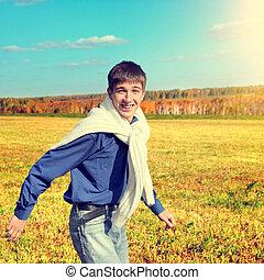 rennende , tiener, vrolijke