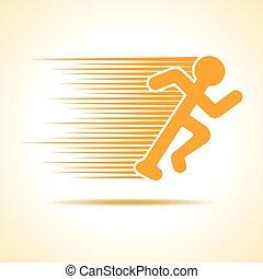 rennende , vector, liggen, man, pictogram