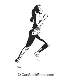 rennende , vector, sketch., illustratie, vrouw