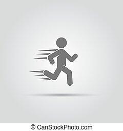 rennende , vector, vrijstaand, man, pictogram