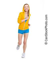 rennende , vrolijke , meisje, tiener