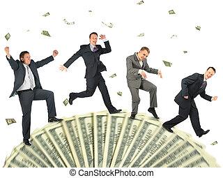rennende , vrolijke , zakenlui, op, dollar, weel, collage