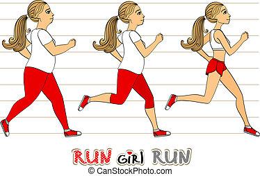 rennende , vrouw, gewicht aderlating, voortgang