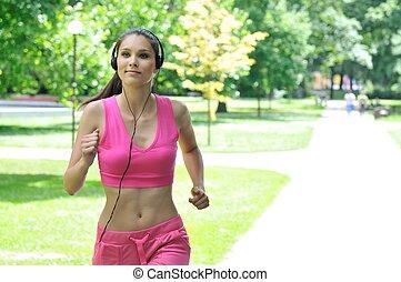 rennende , vrouw, park, jonge, headphones