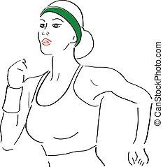 rennende , vrouw, schets