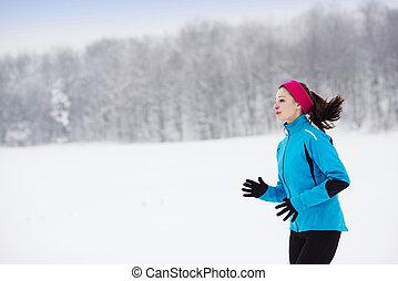 rennende , vrouw, winter