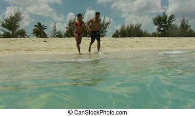 rennende , vrouw, zee, man
