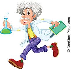 rennende , wetenschapper, hurriedly