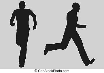 rennender , abbildung, mann