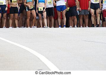 rennender , anfangszeile, race.