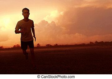 rennender , asiatischer mann