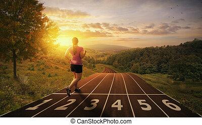 rennender , auf, a, spur