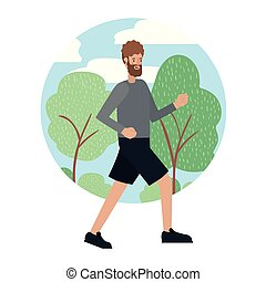 rennender , bart, park, junger mann