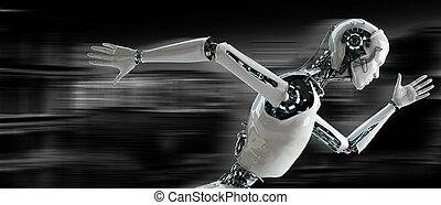 rennender , begriff, geschwindigkeit, android, roboter