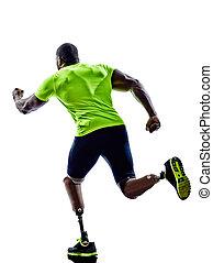 rennender , behindertes, prothese, läufer, mann, beine, jogger, sil