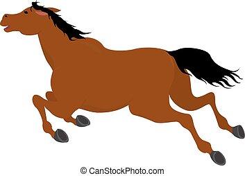 rennender , bellen pferd, karikatur