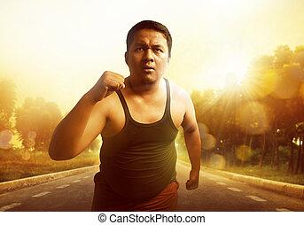 rennender , dicker mann