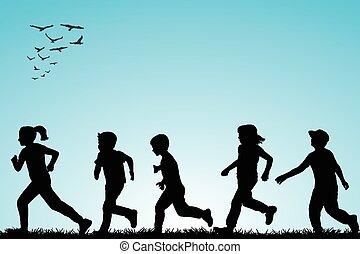 rennender , draußen, kinder, abbildung