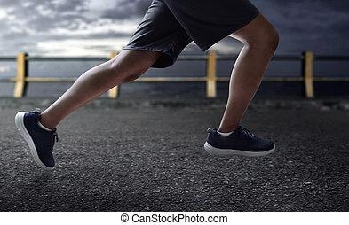 rennender , draußen, mann
