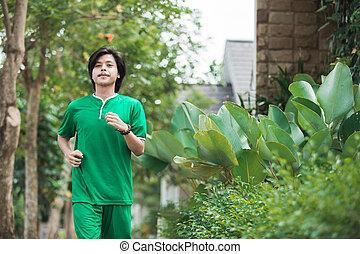 rennender , draußen, trainieren, mann, asiatisch