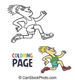 rennender , färbung, karikatur, mann, seite