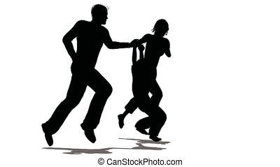 rennender , familie, mit, hängender , kind, silhouette