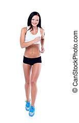 rennender , fitness, frau, freigestellt