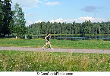 rennender , frau, junger, draußen