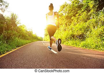 rennender , frau, junger, fitness