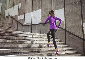 rennender , frau, junger, sportliche