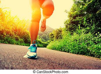 rennender , frau, läufer, beine