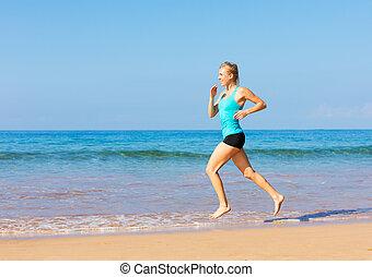rennender , frau, sandstrand
