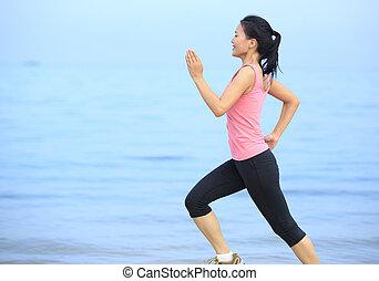 rennender , frau, sandstrand, fitness
