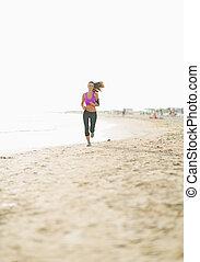 rennender , frau, sandstrand, junger, fitness