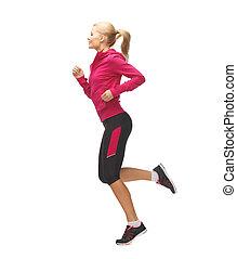 rennender , frau, sportliche , springende , oder