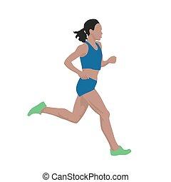 rennender , frau, vektor, abbildung