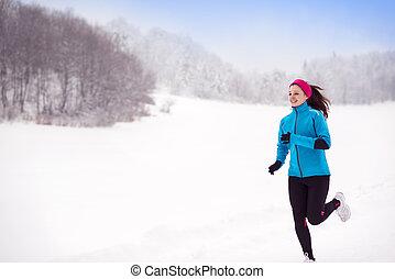rennender , frau, winter