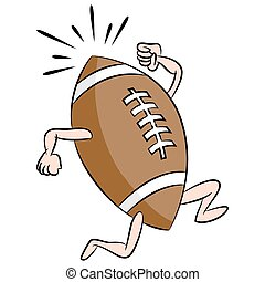 rennender , fußball, karikatur