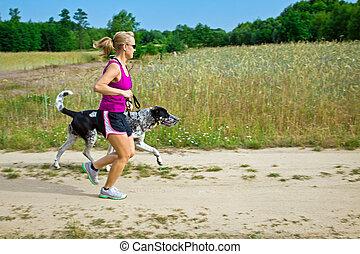 rennender , gehen, frau, hund