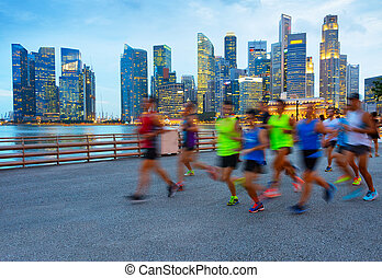 rennender , gruppe, leute., singapur