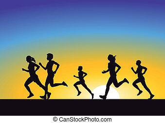 rennender , in, sonnenaufgang
