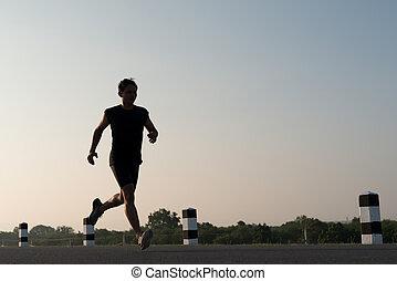 rennender , junger, asia, mann